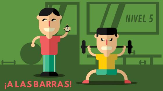 PRINCIPIANTES EN EL GIMNASIO LEVANTAMIENTO DE BARRA