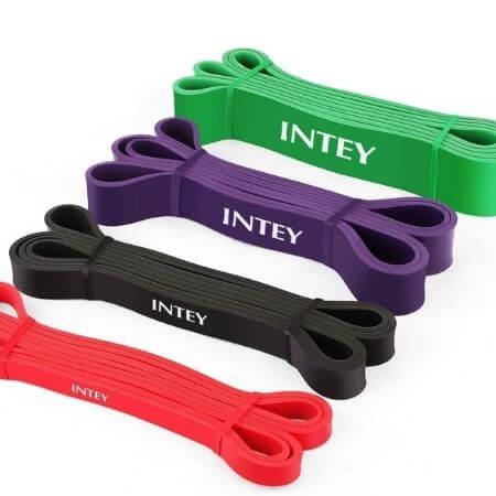 INTEY Bandas de Resistencia, 4pcs Bandas Elasticas de Fitness, de latex Natural, para Entrenamiento de Fuerza, Yoga, Pilates, Culturismo