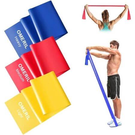 OMERIL Bandas Elasticas Fitness, 1.5M2M Cintas Elasticas con 3 Niveles de Resistencia, 3 Piezas Bandas de Resistencia para Yoga, Pilates, Crossfit
