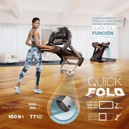 sistema de plegado quick fold cinta de correr profesional sportstech f37 plegable para casa